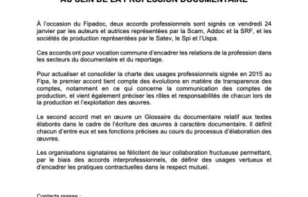 L'USPA signataire de deux accords pour de meilleures relations contractuelles au sein de la profession documentaire avec la Scam - SRF - Addoc - Spi et le Satev.